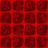 Fond transparent avec Rongorongo glyphes — Vecteur