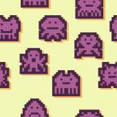 Seamless background with pixel alien monsters — Stockvektor