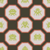 Fond transparent avec monstres exotiques pixel — Vecteur