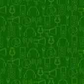 Naadloze achtergrond met muziek en audio-apparatuur — Stockvector