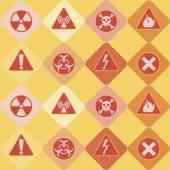 Seamless background with warning signs — Stock Vector