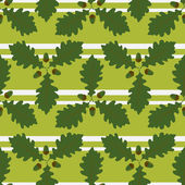 Seamless pattern with oak leaves and acorns on a striped background — Stock Vector