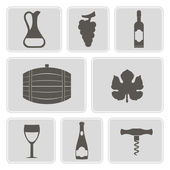 Set of monochrome icons with symbols of wine making for your design — Stock Vector