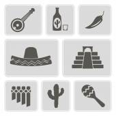 Set of monochrome icons with symbols of Mexico for your design — Stock Vector