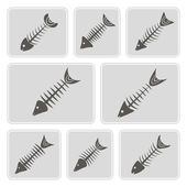 Set of monochrome icons with fish skeletons for your design — Stock Vector