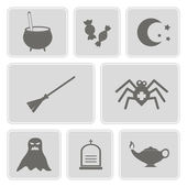 Set of monochrome icons with symbols of Halloween for your design — Stock Vector