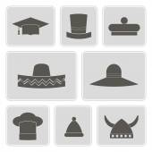 Set of monochrome icons with different hats for your design — Stock Vector