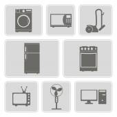 Set of monochrome icons with home technics  for your design — Stock Vector