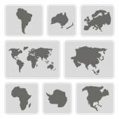 Set of monochrome icons with continents for your design — Stock Vector