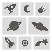 Set of monochrome icons with symbols of interplanetary missions for your design — Stock Vector
