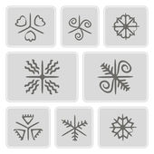 Set of monochrome icons with Traditional Ukrainian Easter egg ornaments for your design — Vettoriale Stock