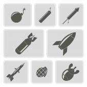 Set of monochrome icons with bombs for your design — Wektor stockowy