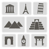 Set of monochrome icons with architectural monuments of world for your design — Stock Vector