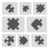 Set of monochrome icons with puzzle for your design — Stock Vector