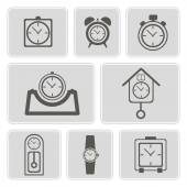 Set of monochrome icons with different clocks for your design — Stock Vector
