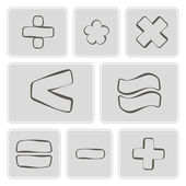 Set of monochrome icons with arithmetic symbols for your design — Stock Vector