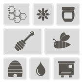 Set of monochrome icons with on the theme of beekeeping for your design — Stock Vector