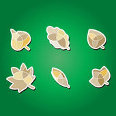 Set of color icons with leaves — Stock Vector