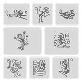Set of monochrome icons with American Indians relics dingbats characters (part 5) — Stock Vector