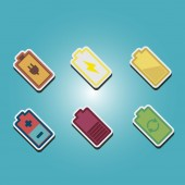 Set of color icons with  batteries — Stock Vector