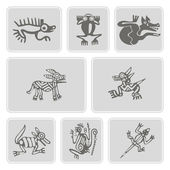 Set of monochrome icons with American Indians relics dingbats characters (part 7) — Stock Vector