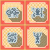 Seamless background with American Indians relics dingbats characters — Stock Vector