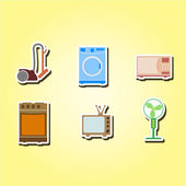 Set of color icons with home technics — Stock Vector