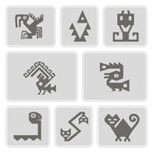 Set of monochrome icons with American Indians relics dingbats characters (part 9) — Stock Vector
