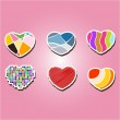 Set of color icons with hearts — Stock Vector #73487953