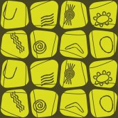 Seamless background with symbols of Australian aboriginal art — Stock Vector