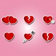 Set of color icons with hearts — Stock Vector #74339353