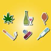 Set of color icons with symbols of drug addiction — Stockvektor