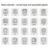 Set of monochrome icons with  Maya calendar named days and associated glyphs — Stok Vektör