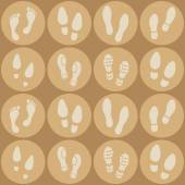 Seamless background with footprints and shoeprint icons — Cтоковый вектор