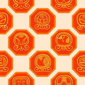 Seamless background with Maya calendar named days and associated glyphs — Stok Vektör