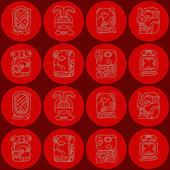 Nahtlose Hintergrund mit Mayakalender Monate benannt und zugehörige Symbole — Stockvektor
