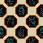 Fondo transparente con calendario maya llamado meses y asociado glyphs — Vector de stock