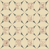 Fond transparent avec des glyphes mayas tête chiffres — Vecteur