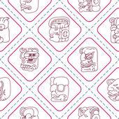 Seamless background with Maya head numerals glyphs — Vector de stock