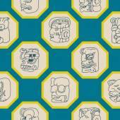 Fondo senza cuciture con glifi testa numeri maya — Vettoriale Stock