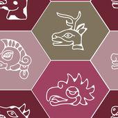 Seamless background with Aztec calendar Day glyphs — Vecteur