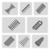 Set of monochrome icons with Springs — Stock Vector