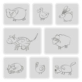 Set of monochrome icons with domestic animal kids drawing — Stock Vector