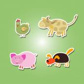 Set of color icons with domestic animal kids drawing — Stock Vector