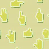 Fond transparent avec les mains et les icônes de doigt — Vecteur