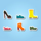 Set of color icons with shoes — Stock Vector