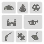 Set of monochrome icons with toys — Stock Vector