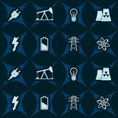 Seamless background with energy and power icons — Stock Vector