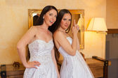 Two happy beautiful brides — Stock Photo