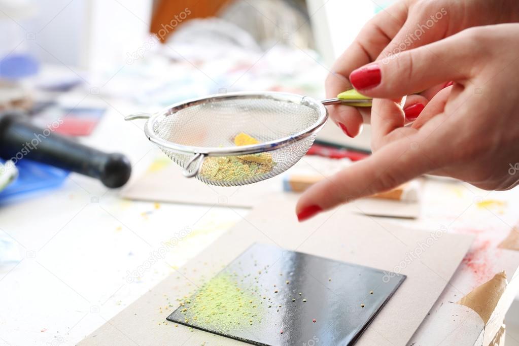 piastrelle di ceramica decorate a mano ? foto stock ... - Pittura Su Piastrelle Di Ceramica